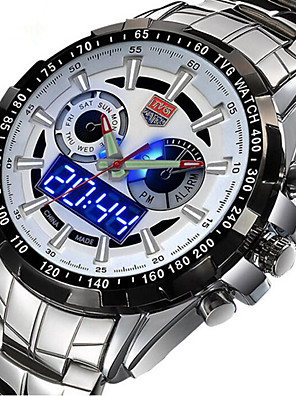 cheap Sport Watches-Men's Sport Watch Military Watch Wrist Watch Quartz Digital Charm Calendar / date / day Multi-Colored Analog - Digital - White Black Blue Two Years Battery Life / Stainless Steel