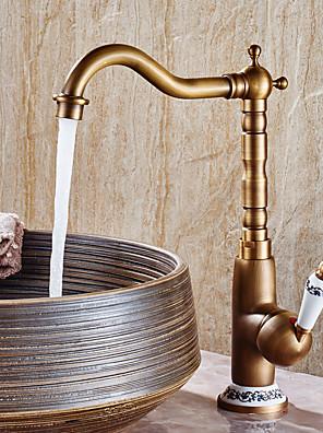 cheap Bridesmaid Dresses-Adjustable Retro Vintage Bathroom Sink Faucet Widespread Antique Copper Centerset With Valve Single Handle One HoleBath Taps