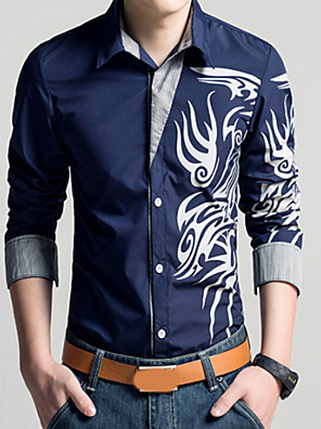 cheap Shirts-Men's Plus Size Shirt Geometric Tribal Print Long Sleeve Slim Tops Vintage Classic Collar White Black Purple / Spring / Fall
