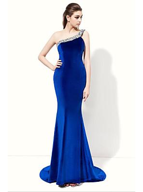 cheap Special Occasion Dresses-Mermaid / Trumpet Elegant Formal Evening Dress One Shoulder Sleeveless Floor Length Velvet with Beading 2020