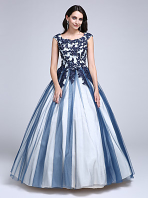 cheap Special Occasion Dresses-Ball Gown Color Block Quinceanera Formal Evening Dress Scoop Neck Sleeveless Floor Length Lace Over Tulle with Beading Appliques 2020