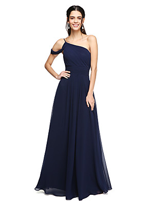 cheap Bridesmaid Dresses-A-Line One Shoulder Floor Length Chiffon Bridesmaid Dress with Pleats