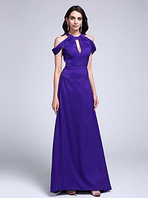 cheap Special Occasion Dresses-Sheath / Column Elegant Keyhole Prom Formal Evening Dress Jewel Neck Sleeveless Sweep / Brush Train Stretch Satin with Pleats 2020