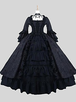 cheap Lolita Dresses-Princess Gothic Lolita Punk Lolita Dress Women's Satin Japanese Cosplay Costumes Black Jacquard Long Sleeve Ankle Length / Gothic Lolita Dress