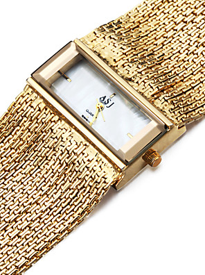 cheap Quartz Watches-ASJ Women's Bracelet Watch Gold Watch Square Watch Quartz Ladies Water Resistant / Waterproof Copper Silver Analog - Golden Silver One Year Battery Life / Japanese / Shock Resistant / Japanese