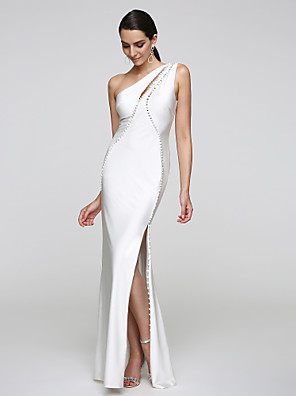 cheap Evening Dresses-Mermaid / Trumpet Minimalist Furcal Holiday Cocktail Party Formal Evening Dress One Shoulder Sleeveless Floor Length Jersey with Buttons 2020