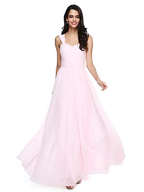 cheap Bridesmaid Dresses-A-Line Straps Floor Length Chiffon Bridesmaid Dress with Sash / Ribbon / Criss Cross / Ruched