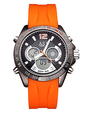 cheap Sport Watches-ASJ Men's Digital Watch Digital Casual Water Resistant / Waterproof Silicone Black / Orange Analog - Digital - Black Orange Two Years Battery Life / Stainless Steel / Japanese / Calendar / date / day
