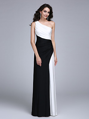 cheap Bridesmaid Dresses-Sheath / Column Color Block Formal Evening Dress One Shoulder Sleeveless Floor Length Jersey with Side Draping 2020
