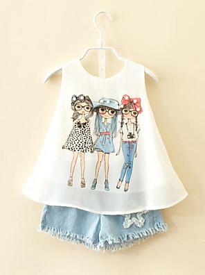 cheap Girls' Dresses-Toddler Girls' Cartoon Daily Print Sleeveless Regular Clothing Set White