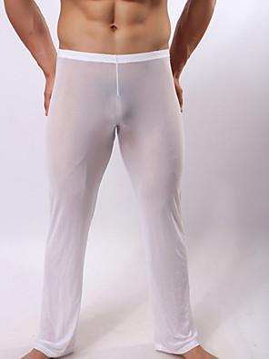 cheap Men's Exotic Underwear-Men's Nylon Touch of Sensation Long Johns Solid Colored Hole Low Waist