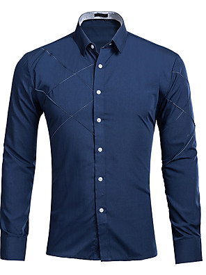 cheap Shirts-Men's Solid Colored Shirt Daily Wine / White / Black / Blue / Red / Blushing Pink / Fuchsia / Navy Blue / Spring / Fall / Long Sleeve