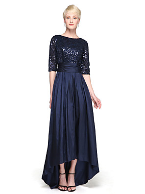 cheap Special Occasion Dresses-A-Line Jewel Neck Asymmetrical Taffeta / Sequined Bridesmaid Dress with Sequin / Bow(s) / Sparkle & Shine