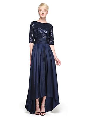 cheap Bridesmaid Dresses-A-Line Jewel Neck Asymmetrical Taffeta / Sequined Bridesmaid Dress with Sequin / Bow(s) / Sparkle & Shine