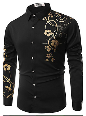 cheap Men's Shirts-Men's Floral Print Slim Shirt Vintage Daily Classic Collar White / Black / Royal Blue / Spring / Fall / Long Sleeve