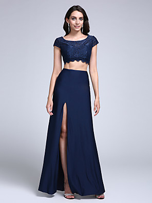cheap Evening Dresses-Two Piece Sheath / Column Two Piece Homecoming Prom Formal Evening Dress Scoop Neck Short Sleeve Floor Length Lace Jersey with Lace Split Front 2020