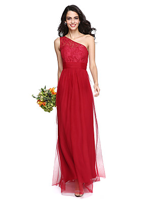 cheap Bridesmaid Dresses-Sheath / Column One Shoulder Floor Length Lace / Tulle Bridesmaid Dress with Ruched