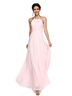 cheap Bridesmaid Dresses-A-Line Jewel Neck Floor Length Georgette Bridesmaid Dress with Ruffles / Open Back
