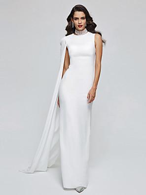 cheap Evening Dresses-Sheath / Column Elegant Celebrity Style Formal Evening Dress Jewel Sleeveless Floor Length Chiffon with Pleats 2020