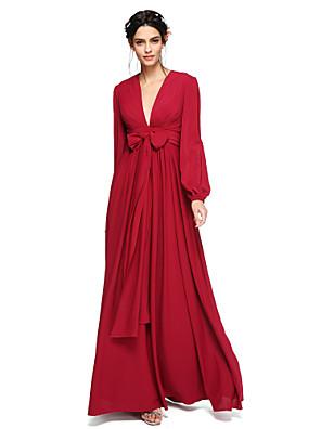 cheap Bridesmaid Dresses-A-Line V Neck Floor Length Chiffon Bridesmaid Dress with Sash / Ribbon / Bow(s) / Pleats / Bishop Sleeve / Open Back