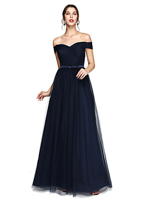 cheap Bridesmaid Dresses-A-Line Off Shoulder / V Wire Floor Length Satin / Tulle Bridesmaid Dress with Sash / Ribbon / Criss Cross