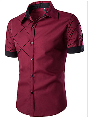 cheap Men's Shirts-Men's Solid Colored Basic Slim Shirt Daily Spread Collar Wine / White / Black / Navy Blue / Summer / Short Sleeve