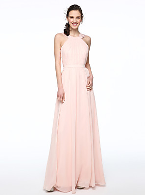cheap Prom Dresses-A-Line Jewel Neck / Cross Front Floor Length Chiffon Bridesmaid Dress with Sash / Ribbon / Pleats