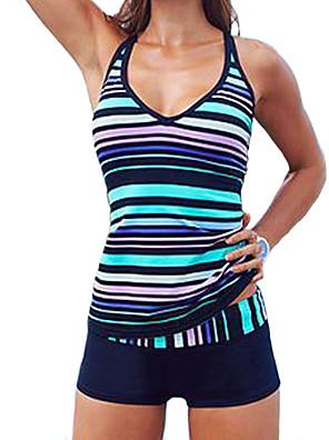 cheap Tankinis-Women's Plus Size Sporty Halter Neck Blue Boy Leg Tankini Swimwear Swimsuit - Striped Print S M L Blue