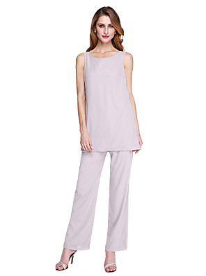 cheap Mother of the Bride Dresses-Pantsuit / Jumpsuit Mother of the Bride Dress Elegant & Luxurious Two Piece Jumpsuits Scoop Neck Ankle Length Chiffon Long Sleeve with Pleats 2020