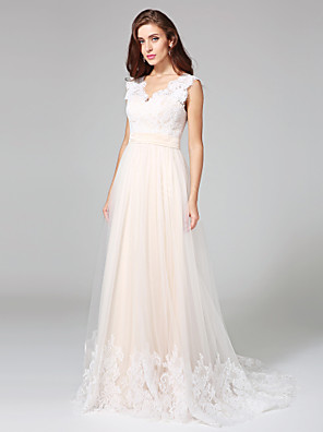 cheap Bridesmaid Dresses-A-Line Wedding Dresses V Neck Sweep / Brush Train Lace Over Tulle Regular Straps Romantic Illusion Detail with Sash / Ribbon Buttons 2020