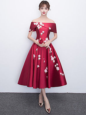 cheap Special Occasion Dresses-A-Line Elegant Floral Cocktail Party Prom Dress Off Shoulder Short Sleeve Tea Length Satin with Appliques 2020