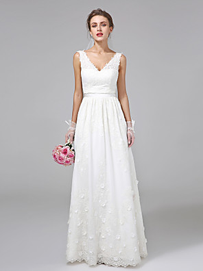 cheap Wedding Dresses-A-Line Wedding Dresses V Neck Floor Length Lace Regular Straps Simple Illusion Detail with Sash / Ribbon Flower 2020