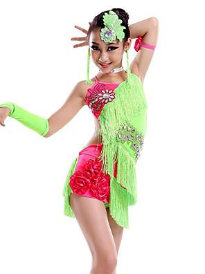 cheap Bridesmaid Dresses-Latin Dance Dress Tassel Crystals / Rhinestones Performance Sleeveless Natural Milk Fiber