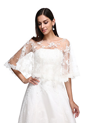 cheap Wedding Wraps-Capes Lace / Tulle Wedding / Party Evening Women's Wrap With Lace