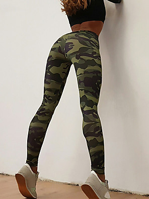 cheap Leggings-Women's Sporty Legging - Animal, Print Mid Waist Army Green M L XL