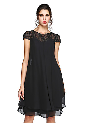 cheap Summer Dresses-A-Line Mother of the Bride Dress Elegant Plus Size Illusion Neck Knee Length Chiffon Lace Short Sleeve with Sequin 2020