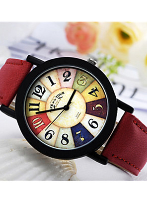 cheap Sport Watches-Men's Women's Sport Watch Quartz Vintage / Leather Black / Red / Brown Analog - Digital - Black Red Brown