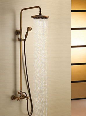 cheap Prom Dresses-Shower Faucet - Antique Antique Brass Shower System Ceramic Valve Bath Shower Mixer Taps / Two Handles Three Holes