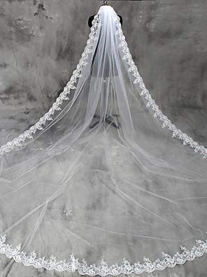 cheap Wedding Veils-One-tier Lace Applique Edge Wedding Veil Cathedral Veils with Appliques Tulle / Classic