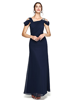 cheap Special Occasion Dresses-Sheath / Column Open Back Prom Formal Evening Dress Straps Sleeveless Floor Length Chiffon with Pleats Beading Side Draping 2020