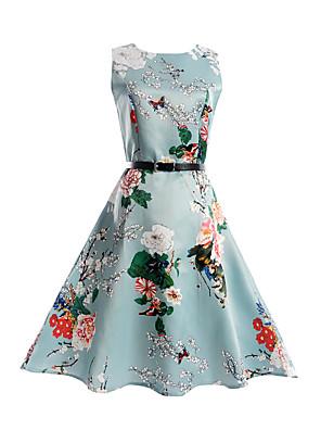 cheap Girls' Dresses-Kids Girls' Floral Print Sleeveless Dress Light Blue