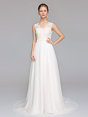 cheap Wedding Dresses-A-Line Wedding Dresses V Neck Court Train Chiffon Lace Bodice Regular Straps Simple Illusion Detail Backless with Appliques 2020