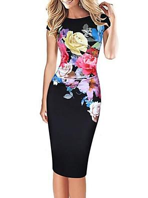 cheap Women's Dresses-Women's Plus Size Knee Length Dress Bodycon - Short Sleeve Floral Print Street chic Party Daily Slim Floral Black Blue Green S M L XL XXL XXXL XXXXL XXXXXL