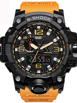 cheap Sport Watches-SMAEL Men's Wrist Watch Hybrid Watch Charm Water Resistant / Waterproof Quilted PU Leather Black / Blue / Red Analog - Digital - Black Yellow Red / Calendar / date / day / Luminous / Stopwatch