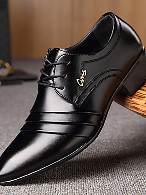 cheap Girls' Dresses-Men's Dress Shoes Derby Shoes Spring / Fall Business / Classic Daily Office & Career Oxfords Walking Shoes Microfiber Wear Proof Black Slogan / EU40