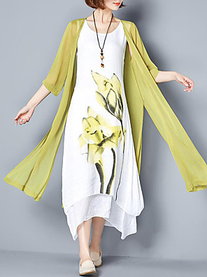 cheap Maxi Dresses-Women's Plus Size Maxi long Dress Loose Floral Print Summer Chinoiserie Weekend Loose Floral Purple Blushing Pink Green Gray M L XL XXL XXXL XXXXL XXXXXL / Cotton