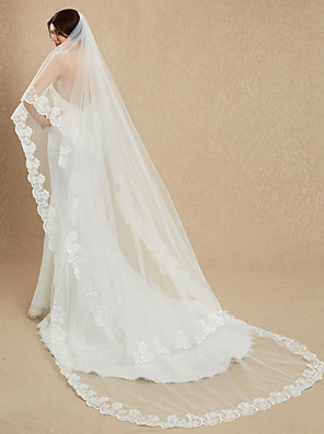 cheap Wedding Veils-One-tier Lace Applique Edge Wedding Veil Cathedral Veils with Embroidery 181.1 in (460cm) Lace / Tulle / Mantilla