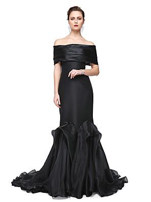 cheap Evening Dresses-Mermaid / Trumpet Elegant Formal Evening Black Tie Gala Dress Off Shoulder Short Sleeve Sweep / Brush Train Stretch Satin with Pleats 2020