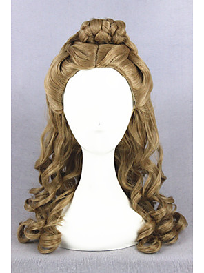 cheap Cocktail Dresses-Synthetic Wig Cosplay Wig Curly Curly With Ponytail Wig Medium Length Brown Synthetic Hair Women's Updo Middle Part Braided Wig Brown