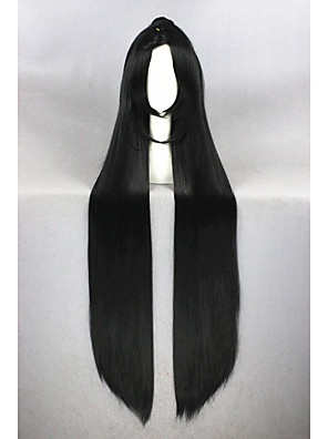 cheap Sexy Bodies-Synthetic Wig Cosplay Wig Straight Straight With Ponytail Wig Very Long Natural Black Synthetic Hair Women's Middle Part Black
